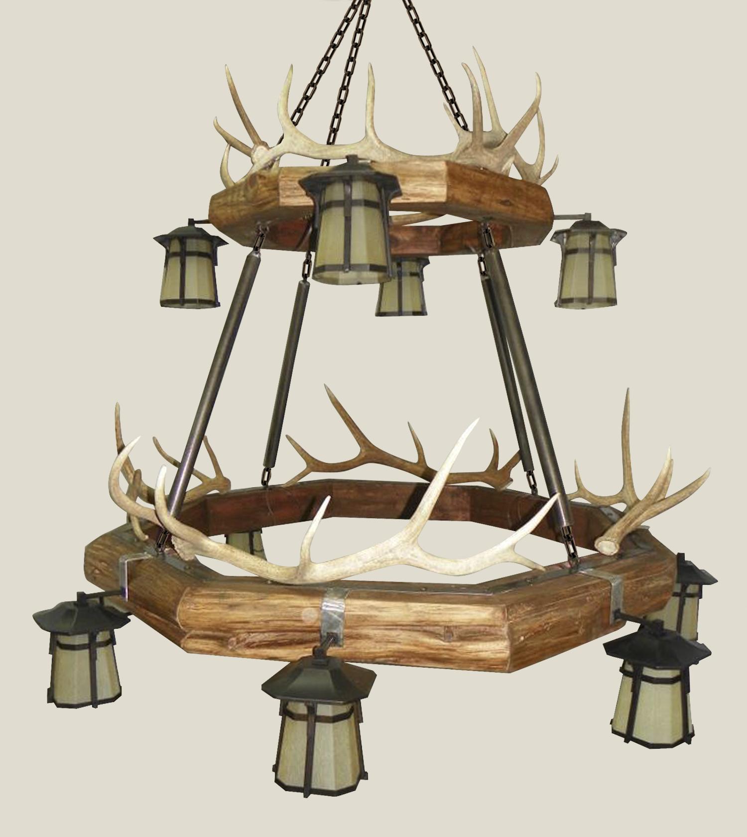 Chandelier Red Cedar Elk Antler Lantern